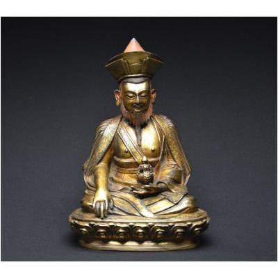 Tibet, XIXth Century, Representation Of  Lama Chokyi Gocha, Finely Chiseled Copper Alloy