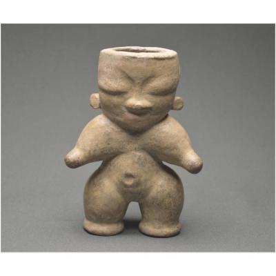 Colombie, Civilisation Zenú, 1000 - 1500 ap J. -C., Personnage en céramique à engobe gris-beige