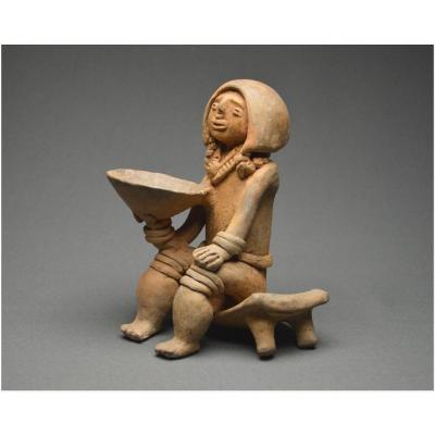 Colombie, Culture Tayronas, 800 - 1200 ap J. -C. Grande représentation d'un shaman en céramique