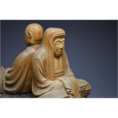 Bouddhisme Zen, Japon, Période Edo, Grand groupe en bois représentant Bodhidharma et un Arhat