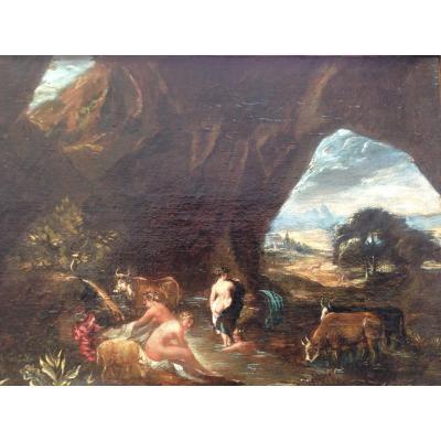 nymphes dans une grotte XVIIIème siècle