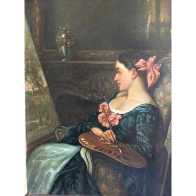Portrait Of Female Artist At The Easel