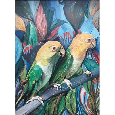 Deux Oiseaux Sur Une Branche - Art Déco