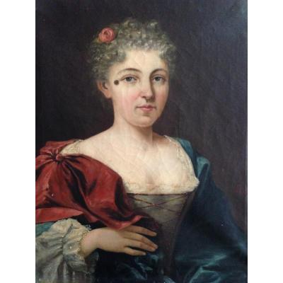 Huile Sur Toile portrait de femme à la mouche XVIII XIX