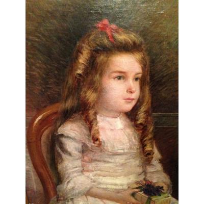 Portrait d'Enfant XIX  fillette au coffret