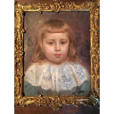 Portrait Of Child XIX Empire Noble Little Girl