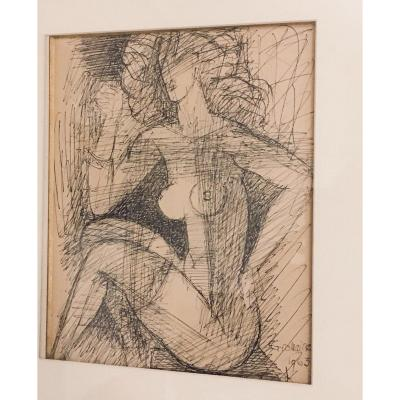 Marcel Gromaire Ink Drawing Naked Woman