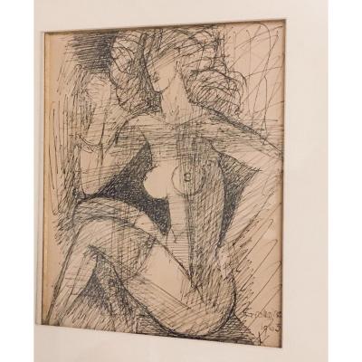 Marcel Gromaire Dessin à L Encre Femme Nue