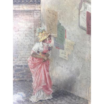 Portrait d'une femme élégante en promenade avec son chien -  XIX