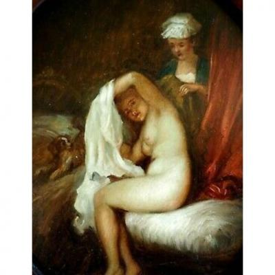 Female Nude In Bath - Portrait Of Woman With Her Toilet - XIX