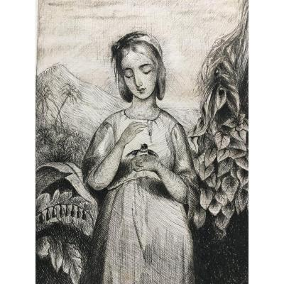 Acien Drawing XIX Feather Ink Young Girl With Bird - Child Portrait