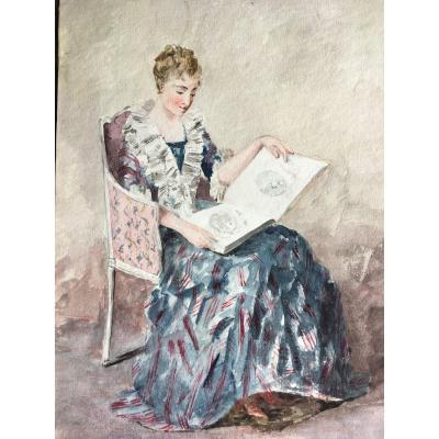 Portrait De Femme En Amatrice d'Art - Dessin Aquarelle XIX