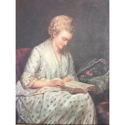 Portrait De Femme à la Lecture Huile Sur Toile XIX