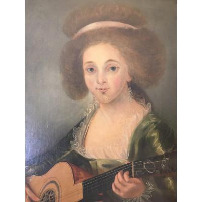 Portrait Femme à La Guitare XIX