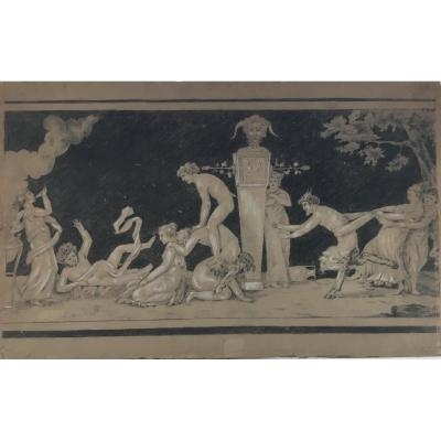Bacchanalia Pan Mythology Drawing