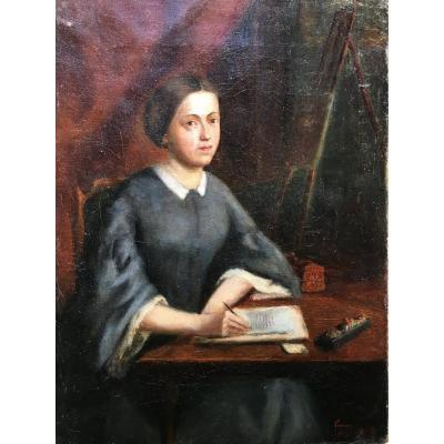 Portrait Of Woman Writing