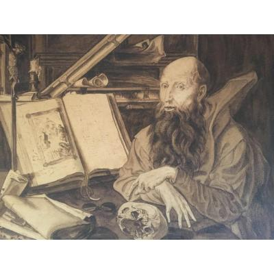Dessin Ancien XIX Alchimiste Savant En Son Cabinet Curiosité