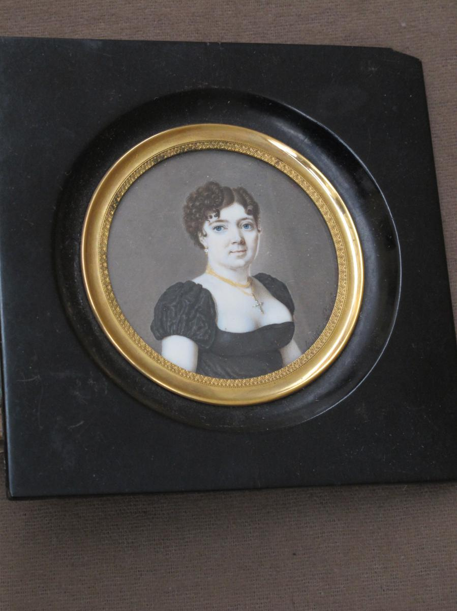 Miniature On Ivory Portrait Of Young Woman Signed Leissier