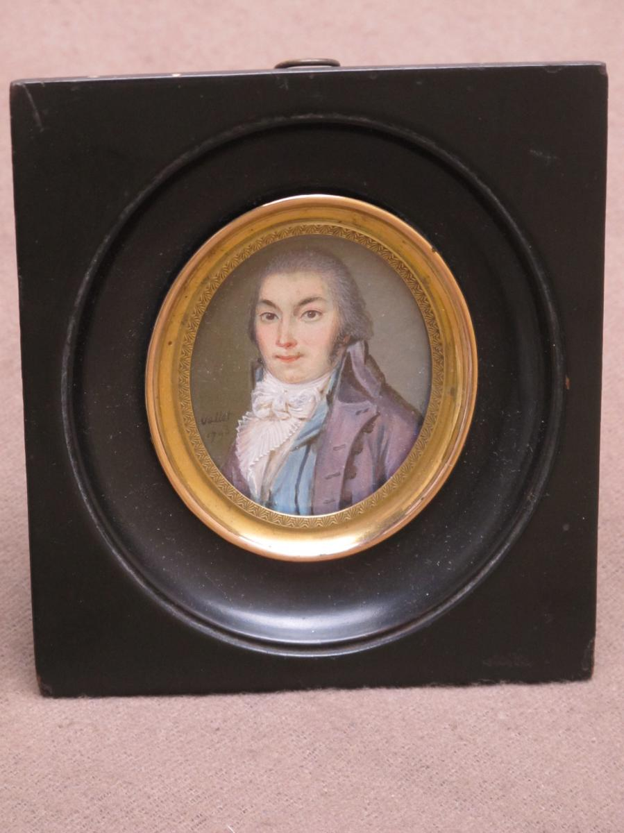 Miniature Revolutionary Era Dated 1797 Signed Vallet