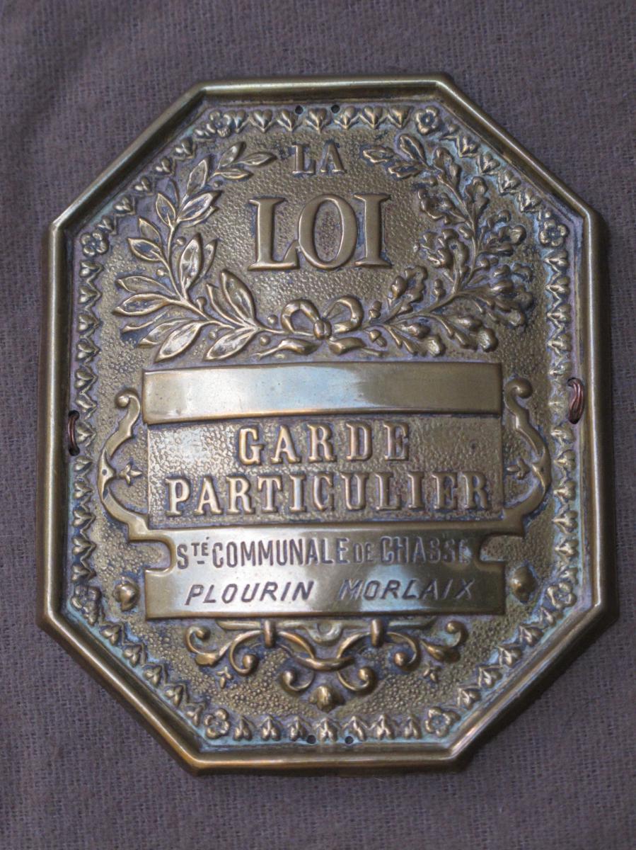 Plaque De Garde Chasse Commune De Morlaix Plourin