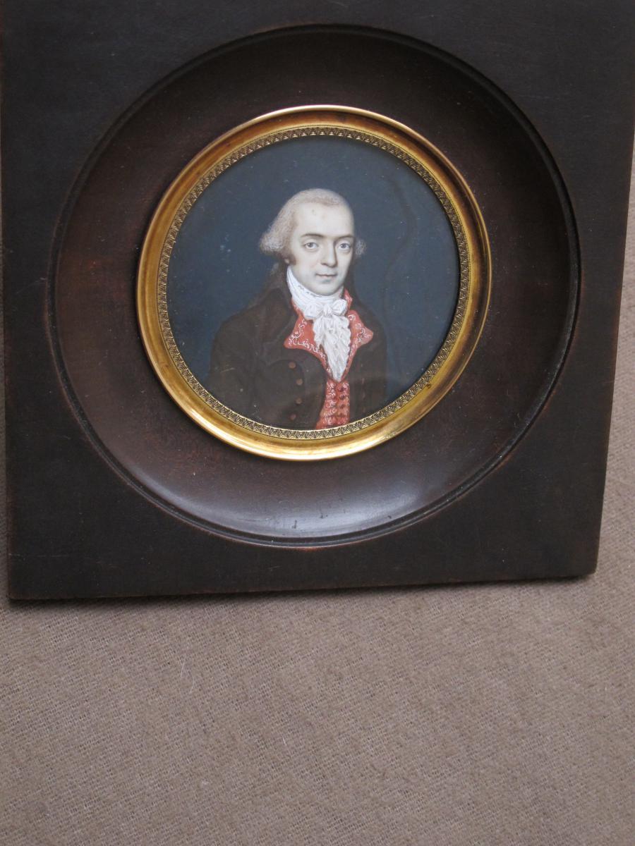 Miniature On Ivory Representing Man Era XVIII Century