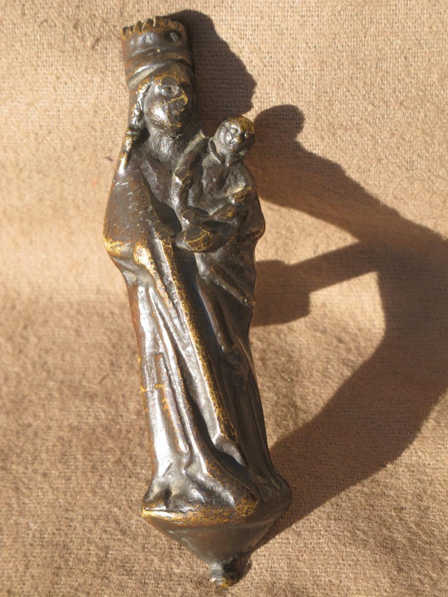 Vierge d'Applique En Bronze époque XVII ème Siècle France-photo-4
