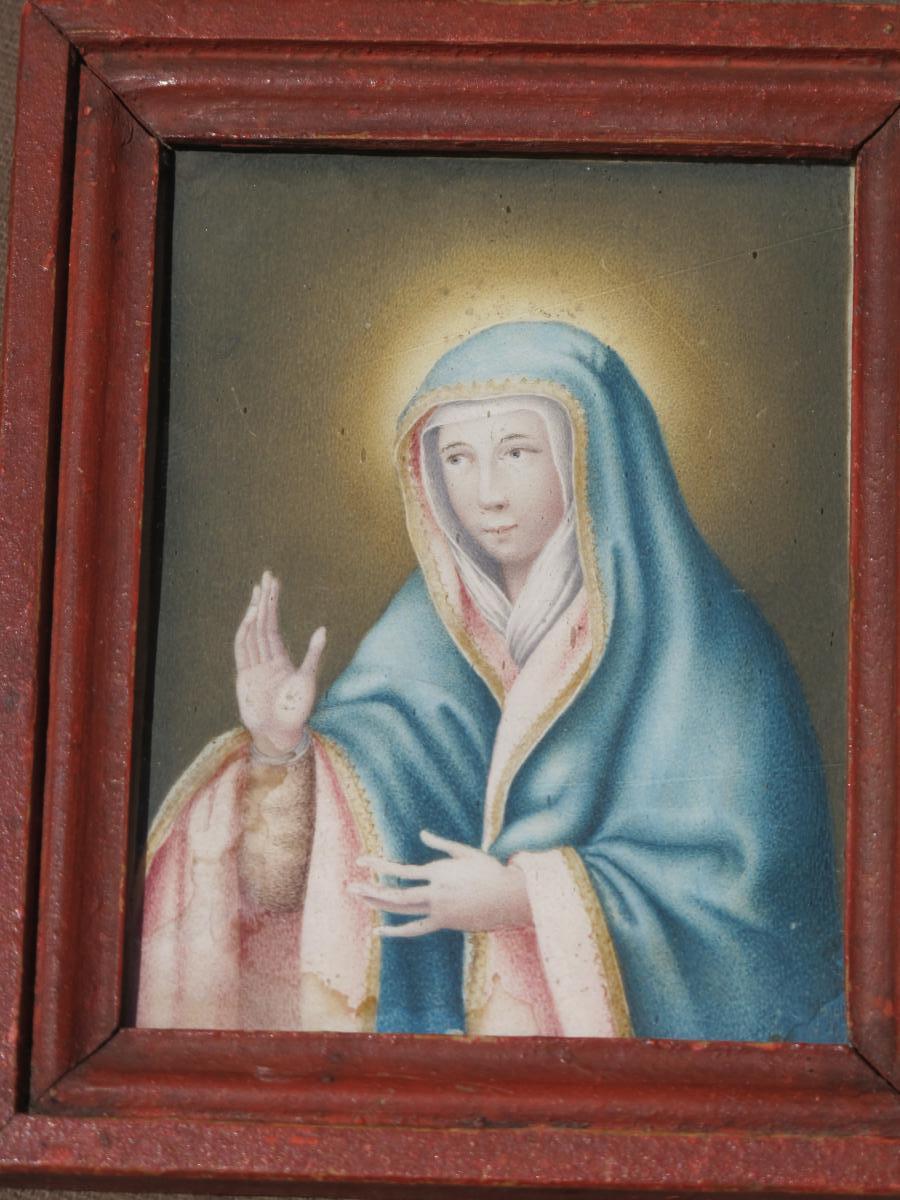 Portrait De La Vierge Bénissante Sur Vélin époque Fin XVII ème Siècle