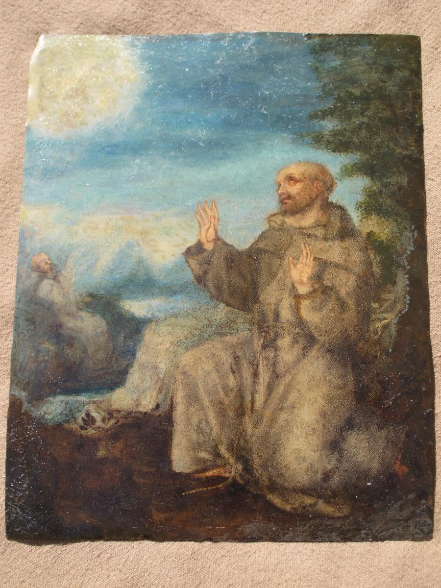 Tableau Huile Sur Cuivre Probablement Saint François époque XVII ème Siècle