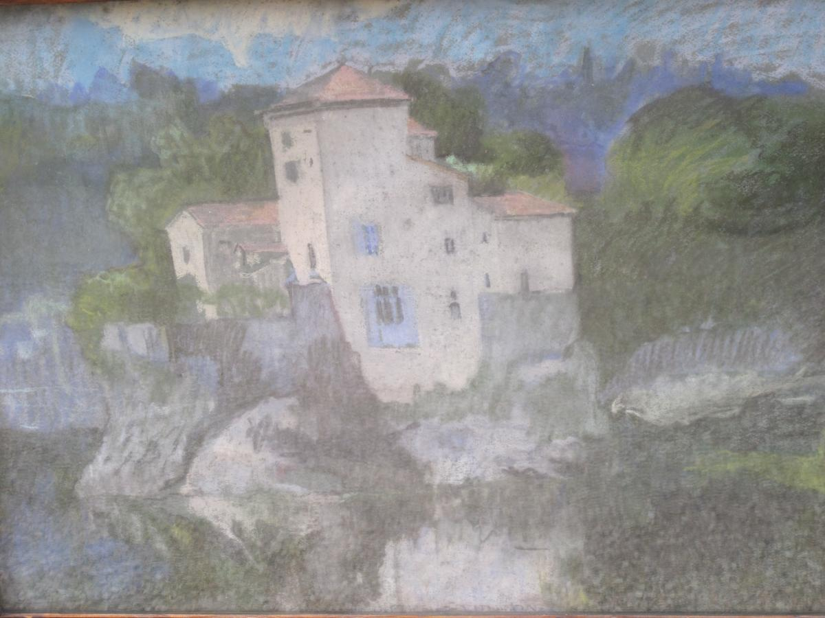 Jean Couty (1907 - 1991) l'Ile Barbe Sur La Saône Près De Lyon Pastel Signé En Bas à Gauche