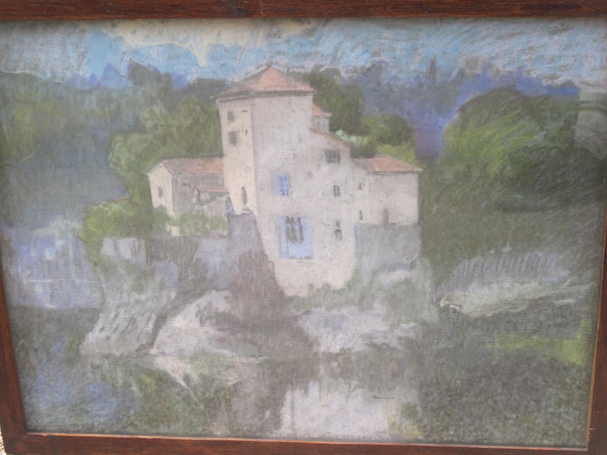 Jean Couty (1907 - 1991) l'Ile Barbe Sur La Saône Près De Lyon Pastel Signé En Bas à Gauche-photo-3