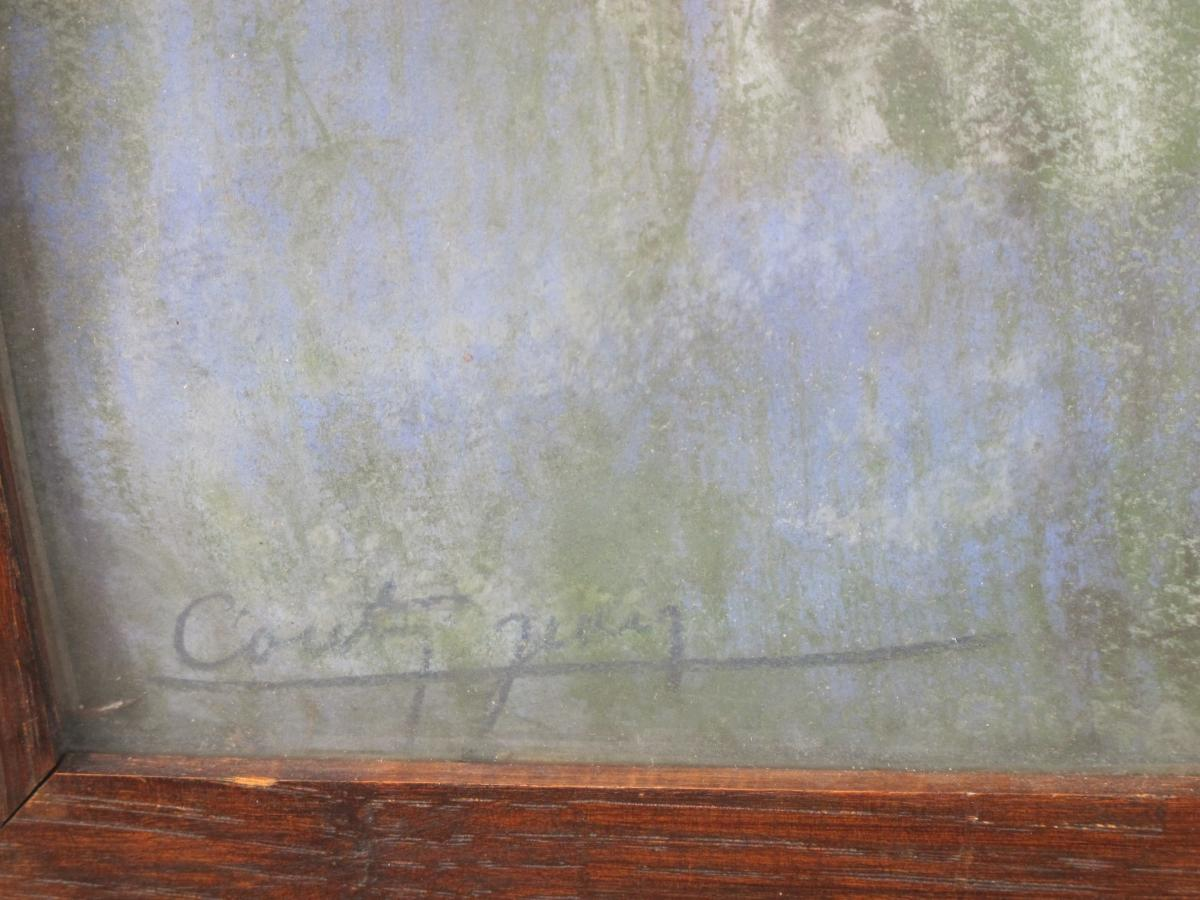 Jean Couty (1907 - 1991) l'Ile Barbe Sur La Saône Près De Lyon Pastel Signé En Bas à Gauche-photo-4
