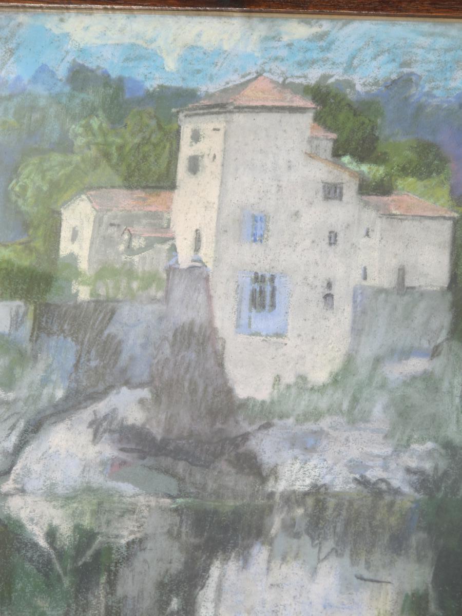 Jean Couty (1907 - 1991) l'Ile Barbe Sur La Saône Près De Lyon Pastel Signé En Bas à Gauche-photo-1