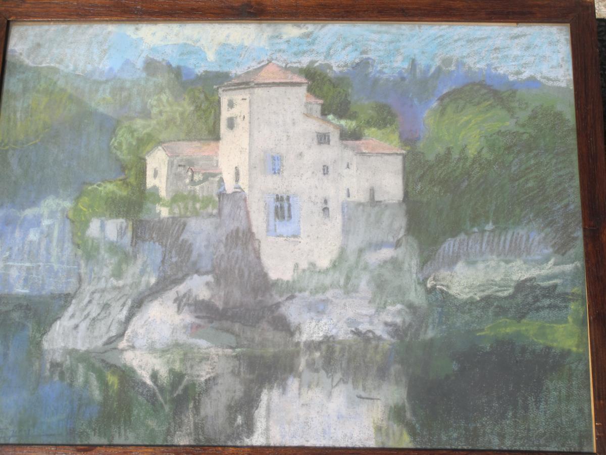 Jean Couty (1907 - 1991) l'Ile Barbe Sur La Saône Près De Lyon Pastel Signé En Bas à Gauche-photo-2