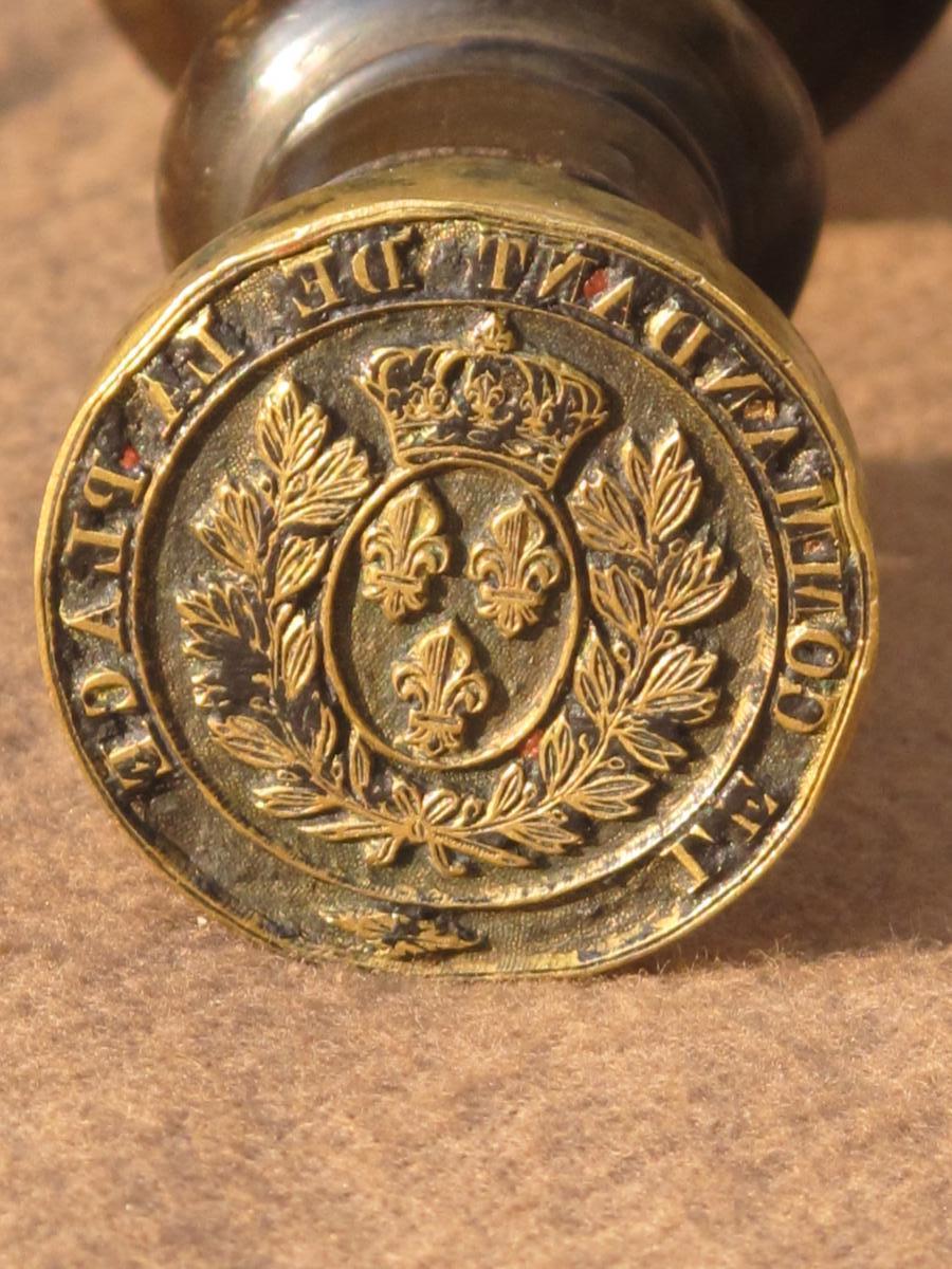 Cachet Sceau En Bronze Militaire Le Commandant De Le Place Armes De France Fleurs De Lys