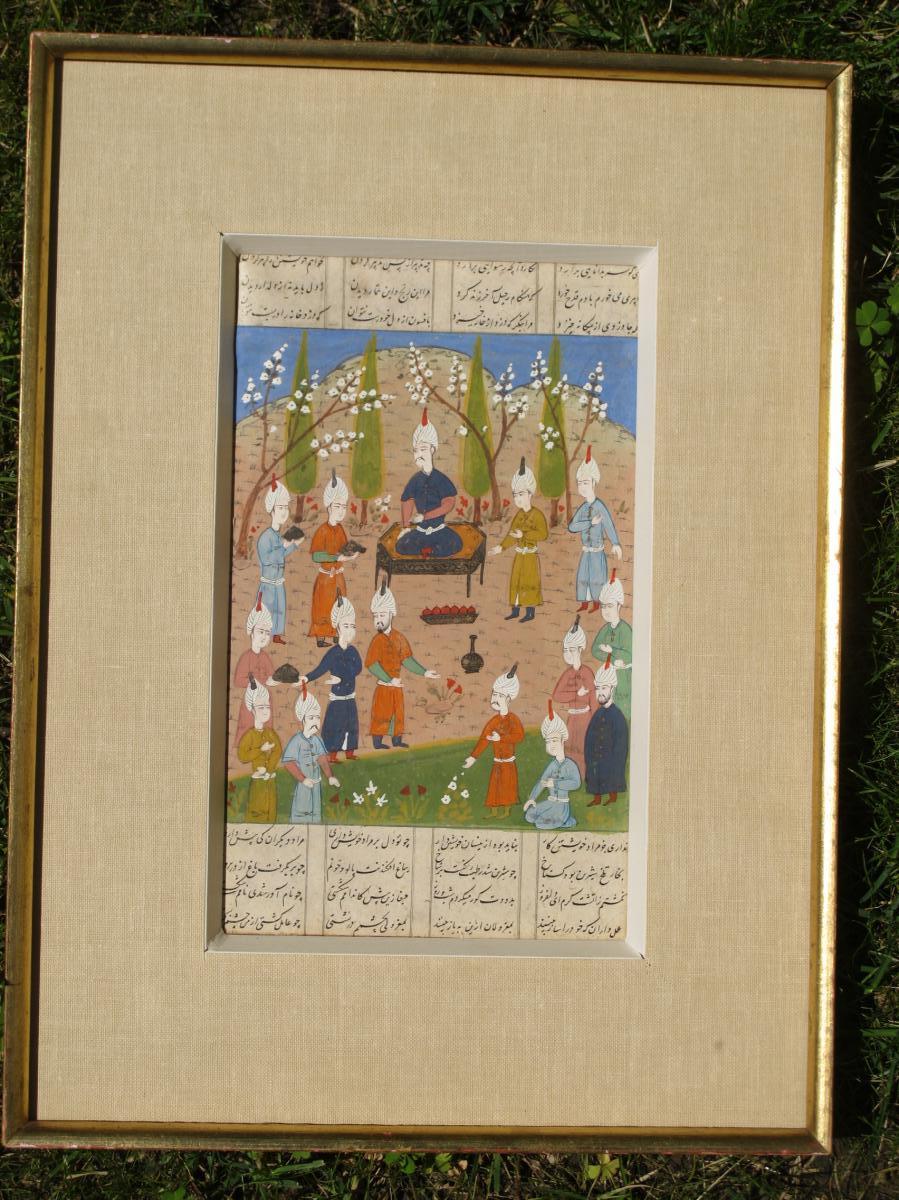 Miniatures à La Gouache Sur Papier Perse Scène De Couronnement