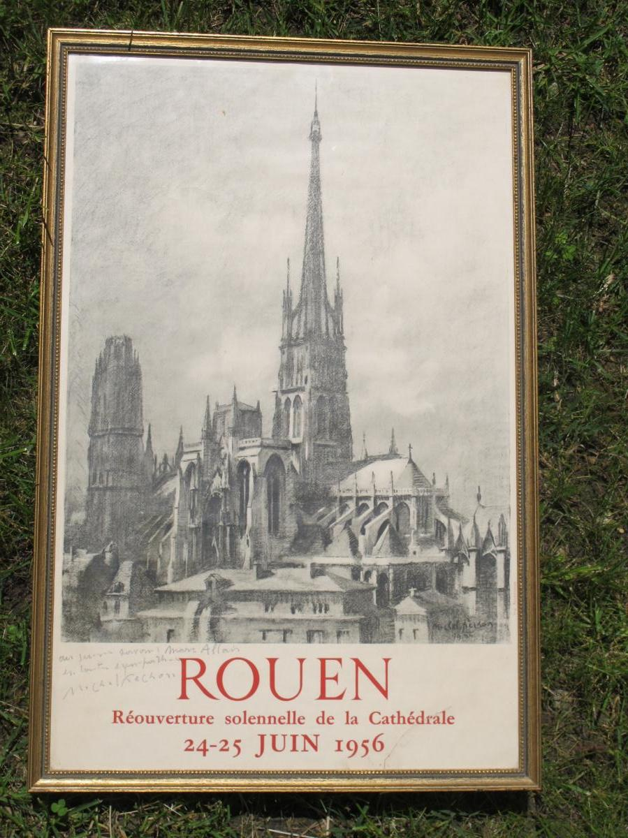 Affiche Rouen Réouverture Cathédrale 24 Juin 1956 Michel Frechon