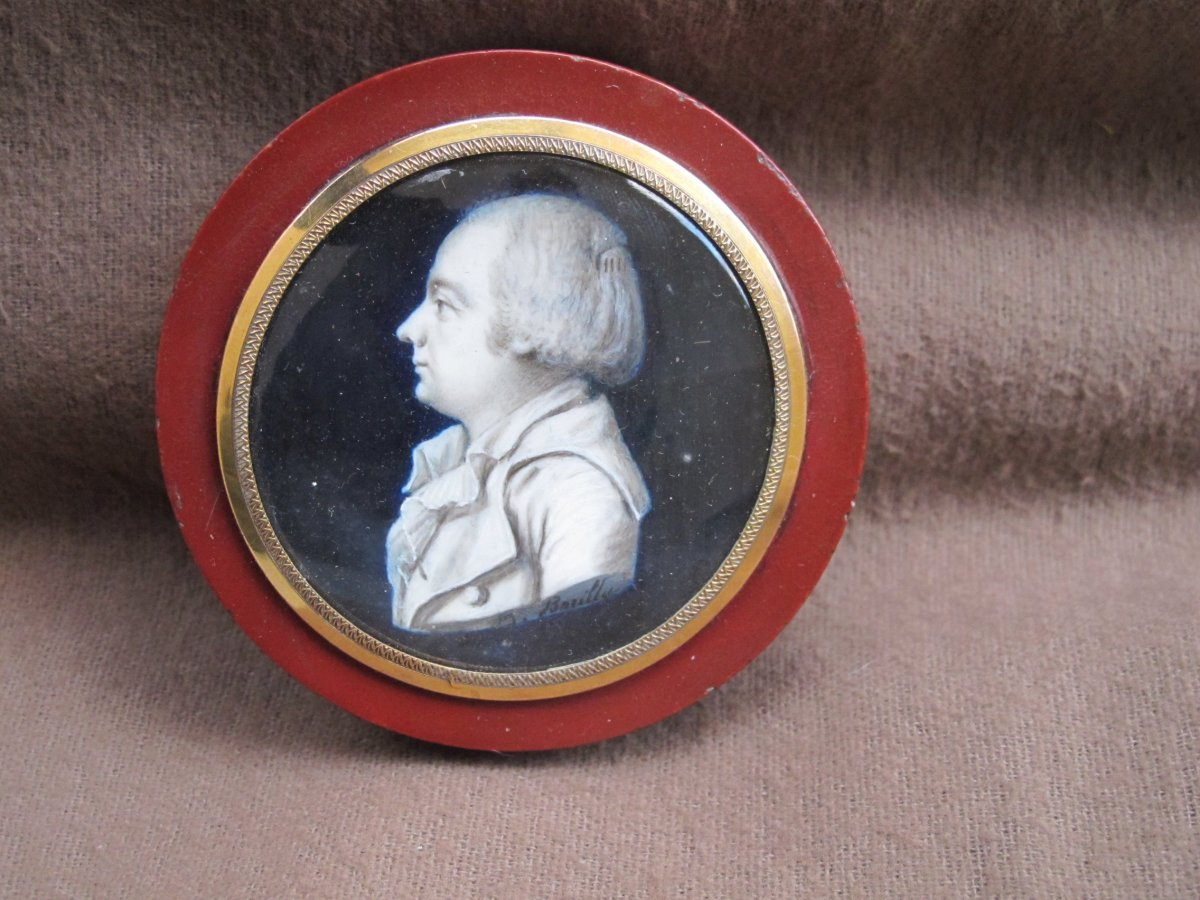 Miniature Box Signed Borilly Male Hair Raised By A Comb (convicted Revolution)