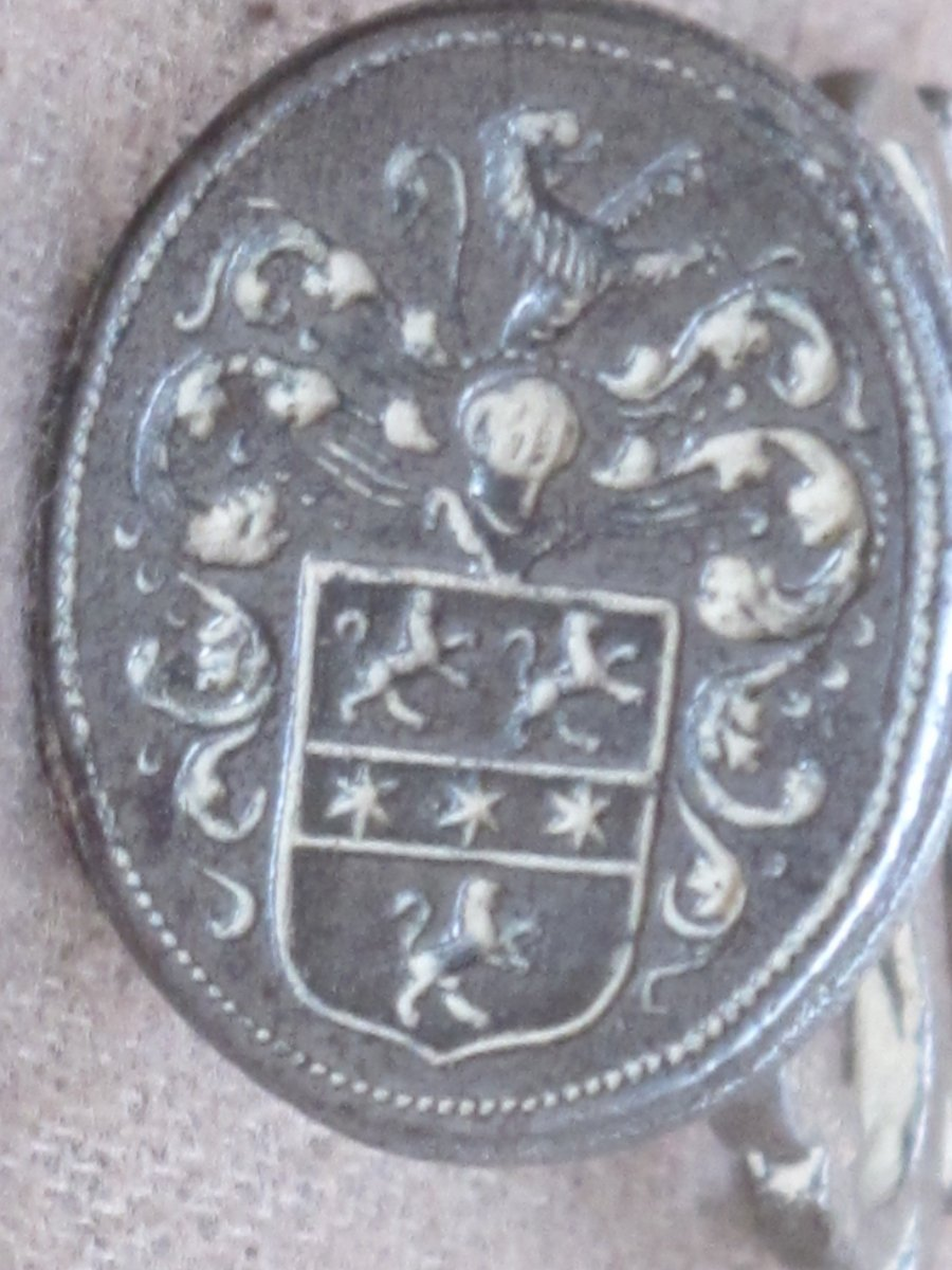 Sceau Cachet En Fer Aux Armes Armoiries Blason Van Gesseler De Groningue Début XVIII Siècle
