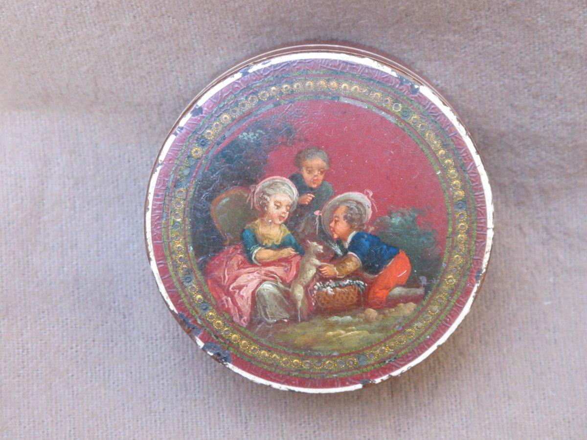 Vernis Box Martin Children Playing With A Cat Louis XVI Period Bergamot Interior