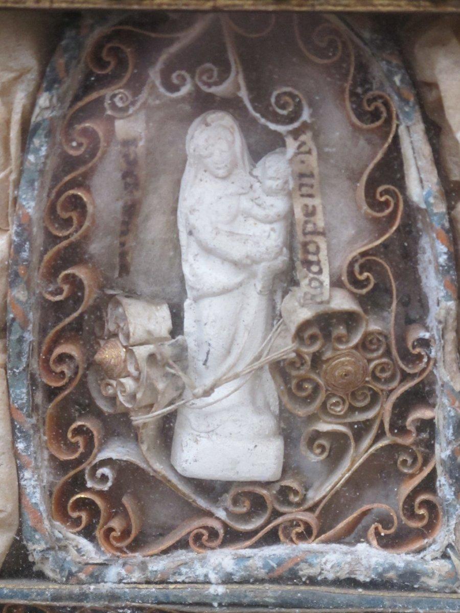 Cadre Reliquaire Paperolle Félix Benoit Donatien  Vierge Papiers Roulés époque XIX ème Siècle-photo-4