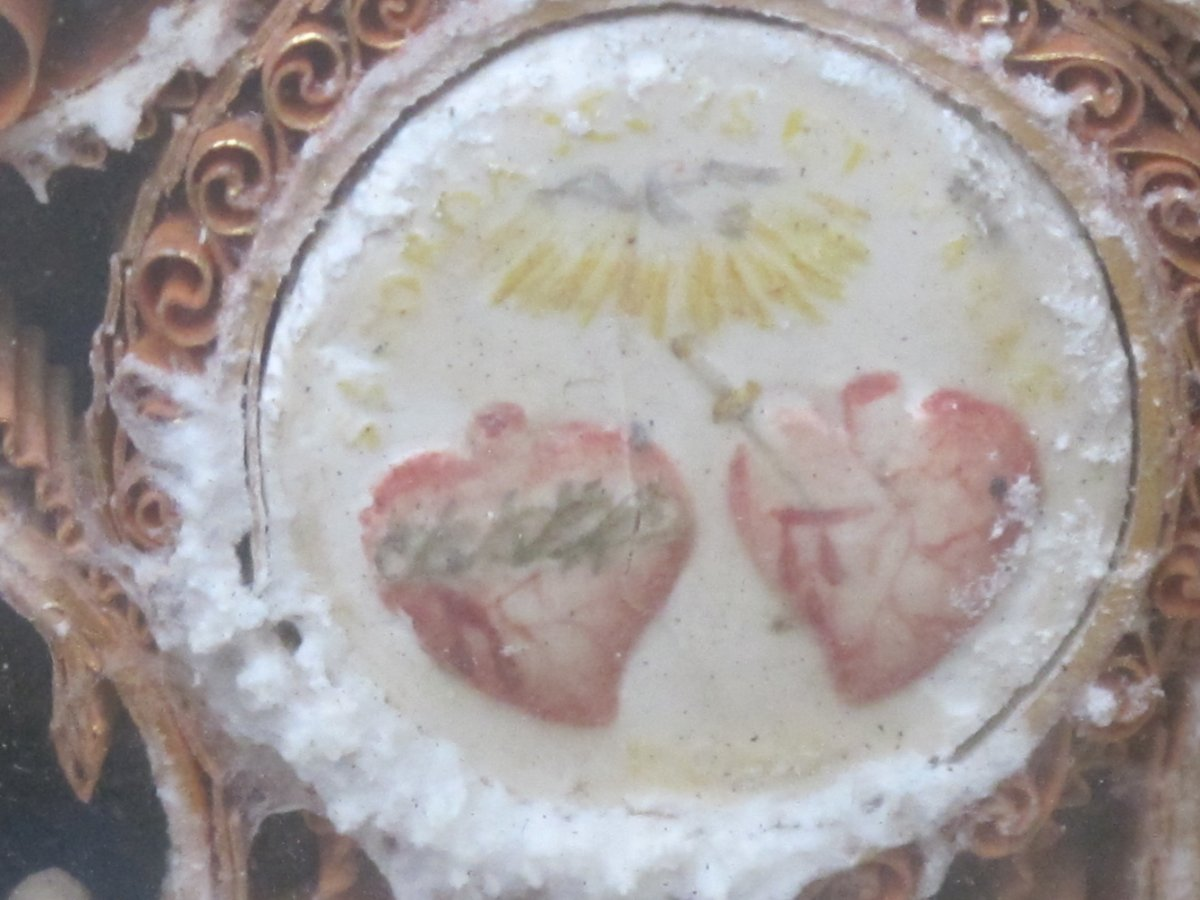Cadre Reliquaire Paperolle Félix Benoit Donatien  Vierge Papiers Roulés époque XIX ème Siècle-photo-5