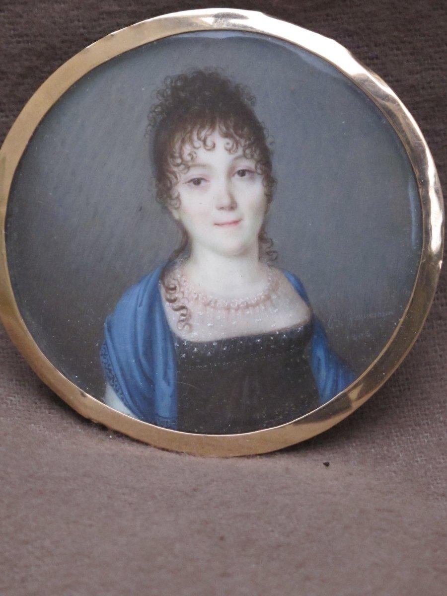 Miniature Signée B. Gagneraux  Marie Guillemine Pinel Du Manoir épouse Claude Bouillé Du Chario