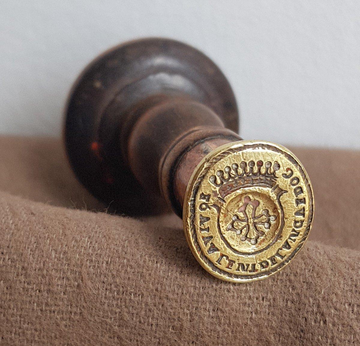 Sceau Cachet En Bronze Armoiries Du Languedoc Manche En Bois Tourné
