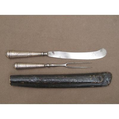 Covered From Travel And Steel Silver XVII Century And Its Leather Case