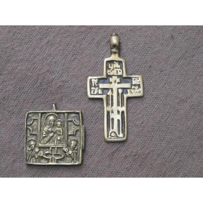 Croix Et Médaillon Russe En Bronze époque Début XIX Siècle