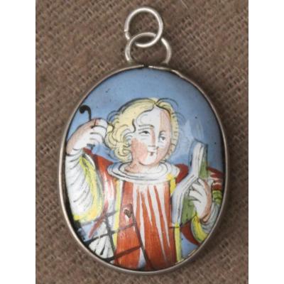 Médaillon émaillé De La Vierge Et De Saint Laurent époque XVIII éme Siècle Argent France