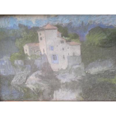 Jean Couty (1907 - 1991) Ile Barbe On The Saone Near Lyon Pastel Signed En Bas à Gauche