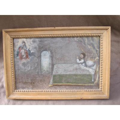 Ex Voto Man Saved Flames During His Sleep Appearance Of The Virgin And The Child