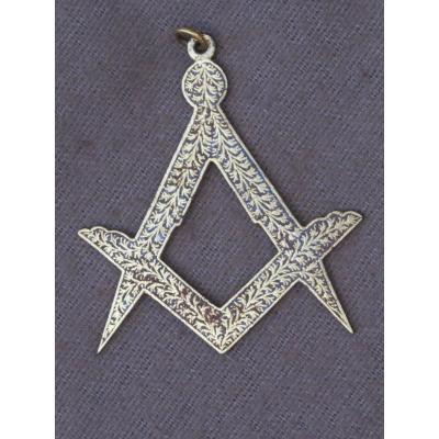 Jewel Badge Medal Freemason Compass Square Bronze Gilt XIX Century
