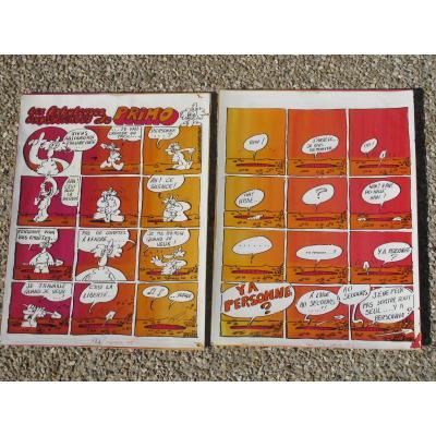 Deux Planches Originales De BD Les Fabuleuses Expériences De Primo Gay Fournier 1977 Casimir